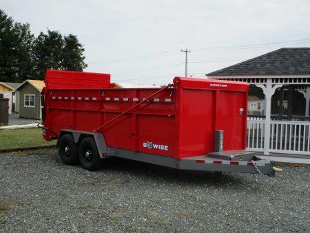"BWise DU16-15 Ultimate Dump 82"" x 16' trailer 15400 GVWR red"